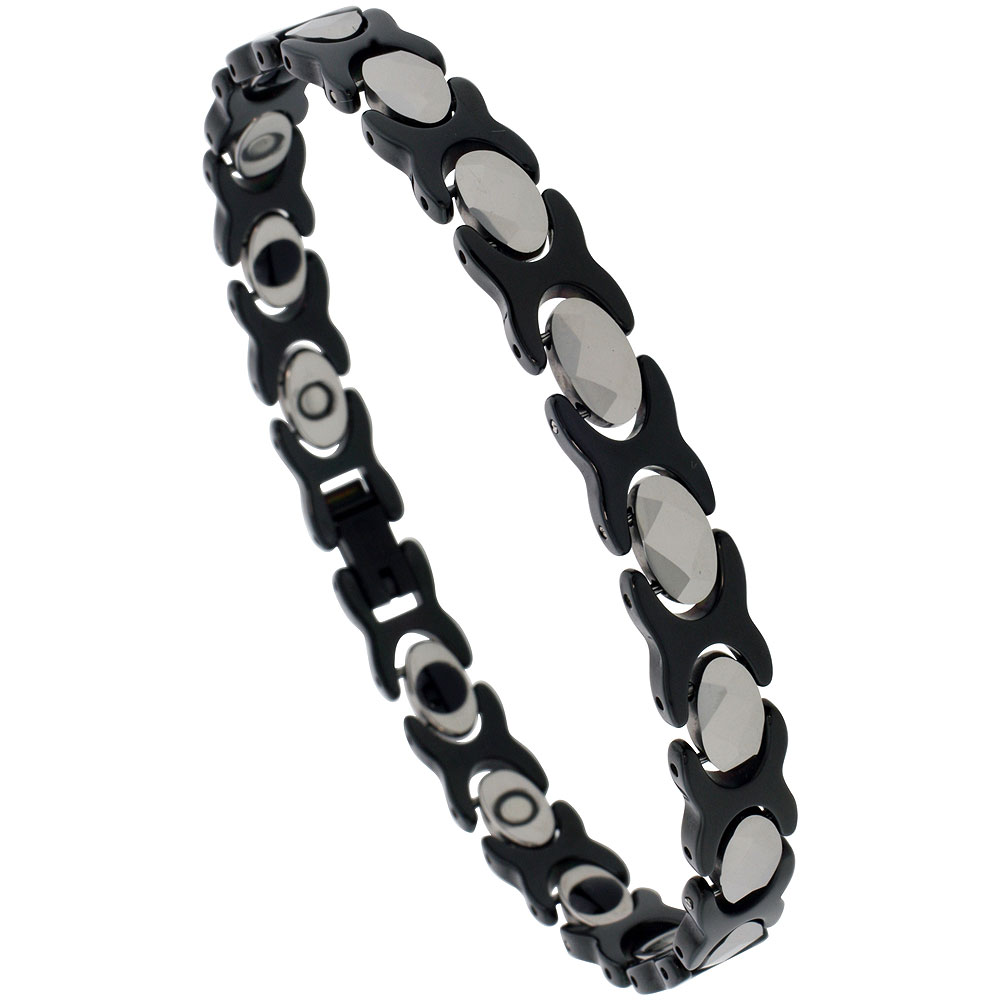 Tungsten & Ceramic XOXO Hugs & Kisses Bracelet Magnetic Therapy, 2-Tone Black & Gun Metal Diamond-shaped Facets, 5/16 inch wide,