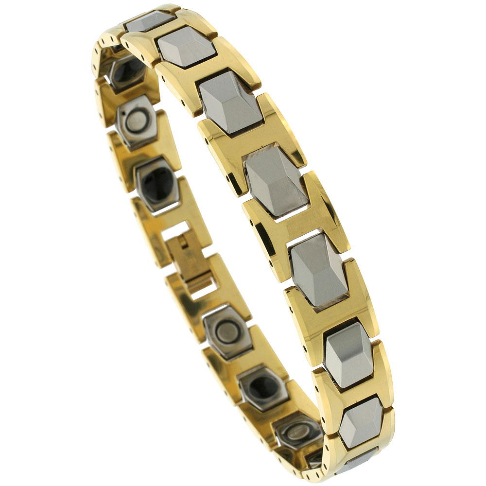 Tungsten Carbide Bracelet Magnetic Therapy, 2-Tone Gold & Gun Metal Faceted Hexagon Links, 1/2 inch wide,