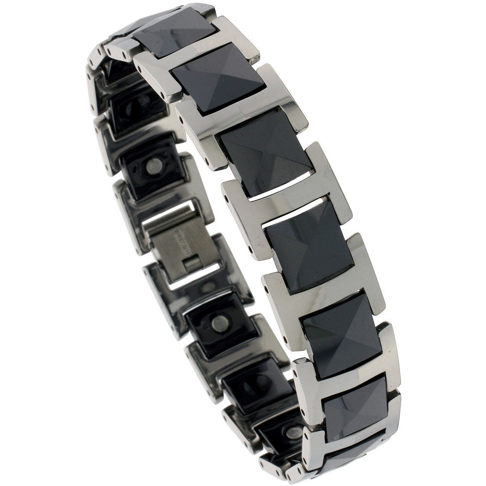 Tungsten & Ceramic Bracelet Magnetic Therapy, 2-Tone Black Faceted Links, 7/16 inch wide,
