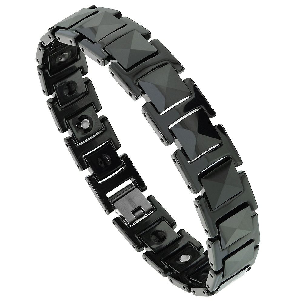 Tungsten Carbide Black Bracelet Magnetic Therapy, colors, 1/2 inch wide,