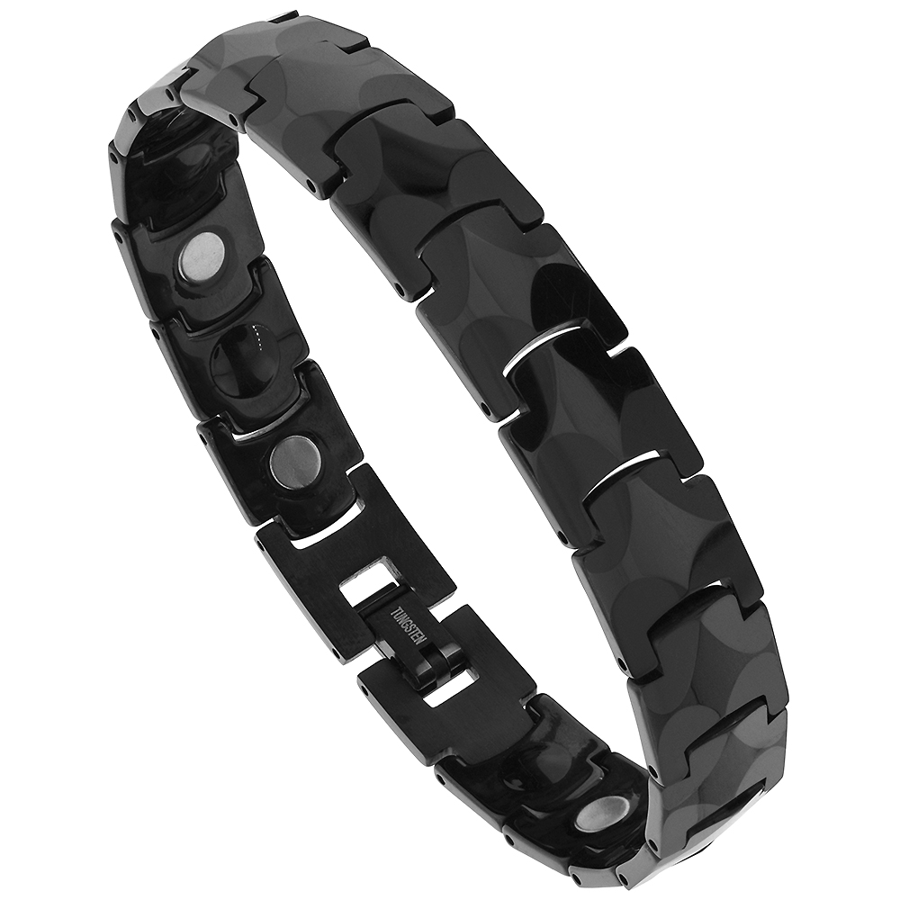 Tungsten Black Bracelet Magnetic Therapy, Faceted Links, 1/2 inch wide,