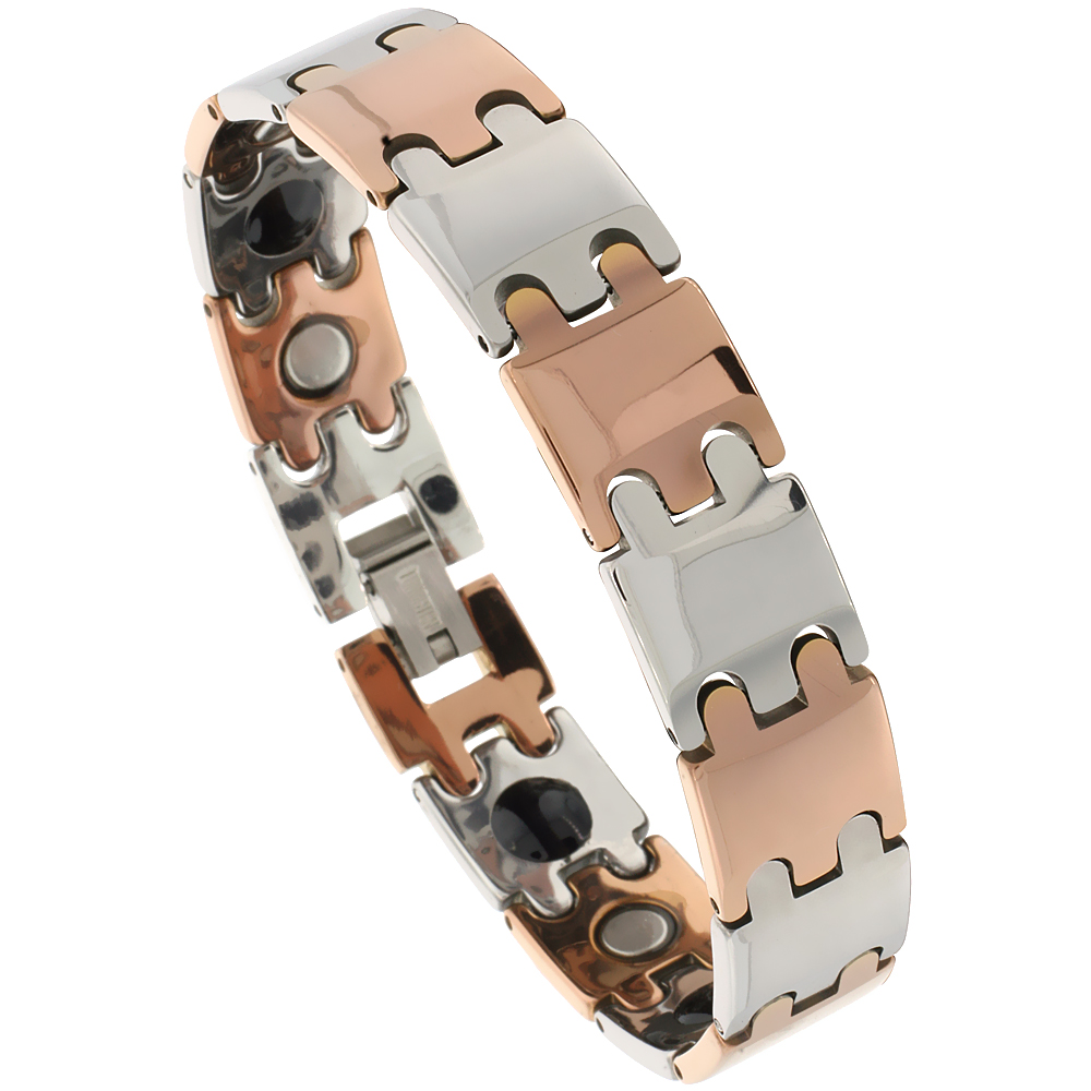 Tungsten Carbide Bracelet Magnetic Therapy, 2-Tone Gun Metal & Rose Gold Bar Links, 1/2 inch wide,
