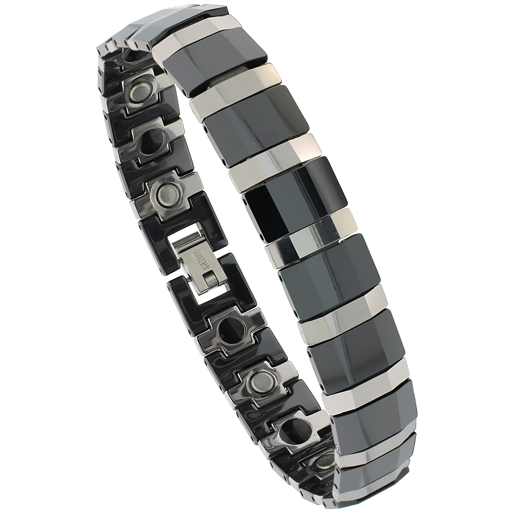 Tungsten Carbide Bracelet Magnetic Therapy, 2-Tone Gun Metal & Black Faceted Bar Links, 1/2 inch wide,