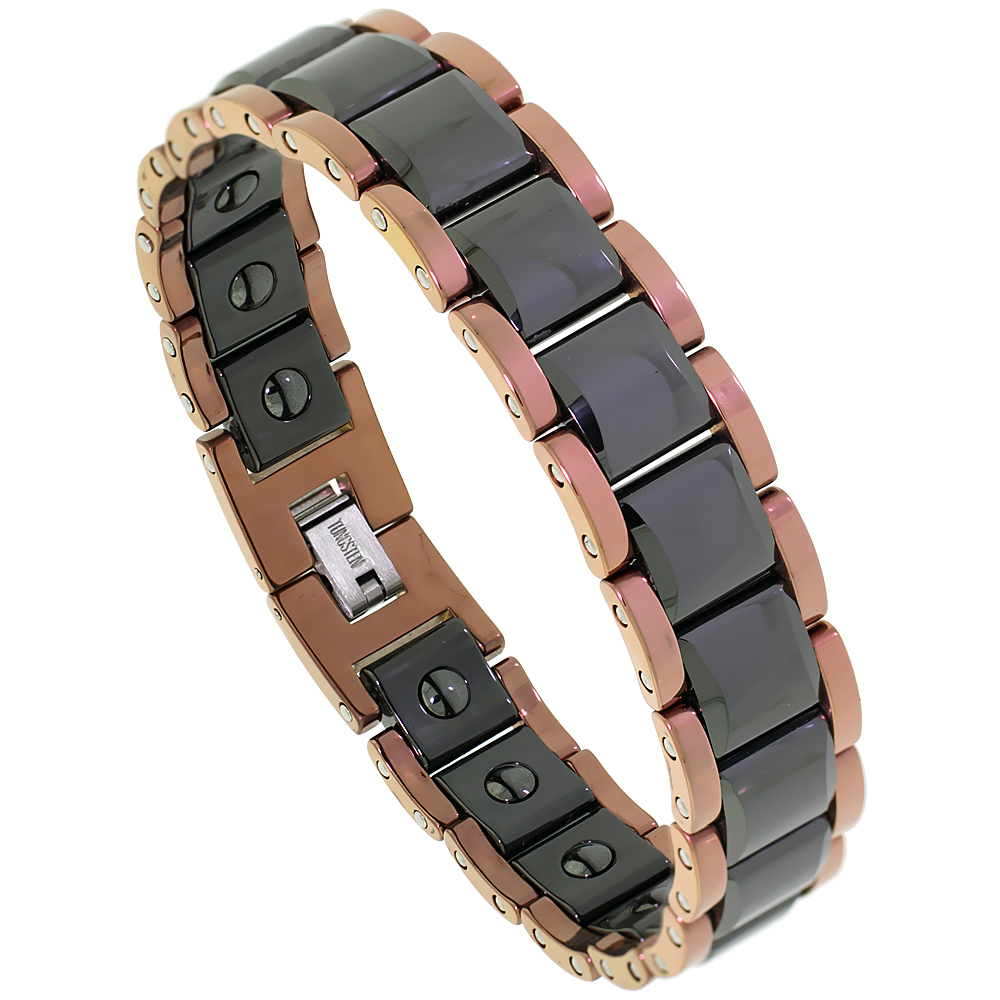 Tungsten Carbide Bracelet Magnetic Therapy, 2-Tone Rose Gold & Black Faceted Square Links 9/16 inch wide