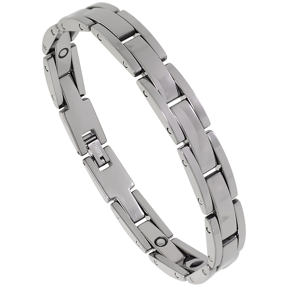 Tungsten Carbide Bracelet Magnetic Therapy Rectangular Bar Links, 3/8 inch wide