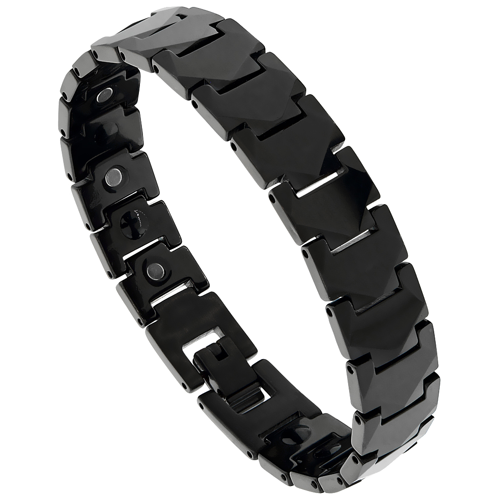 Tungsten Carbide Black Bracelet Magnetic Therapy Faceted Hexagon Links, 7/16 inch wide, 7.75, 8 inches long