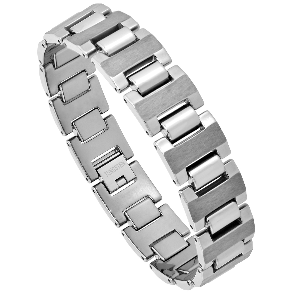 Tungsten Bracelet Magnetic Therapy Polished Gunmetal Vertical Stripe Center, 5/8 inch wide