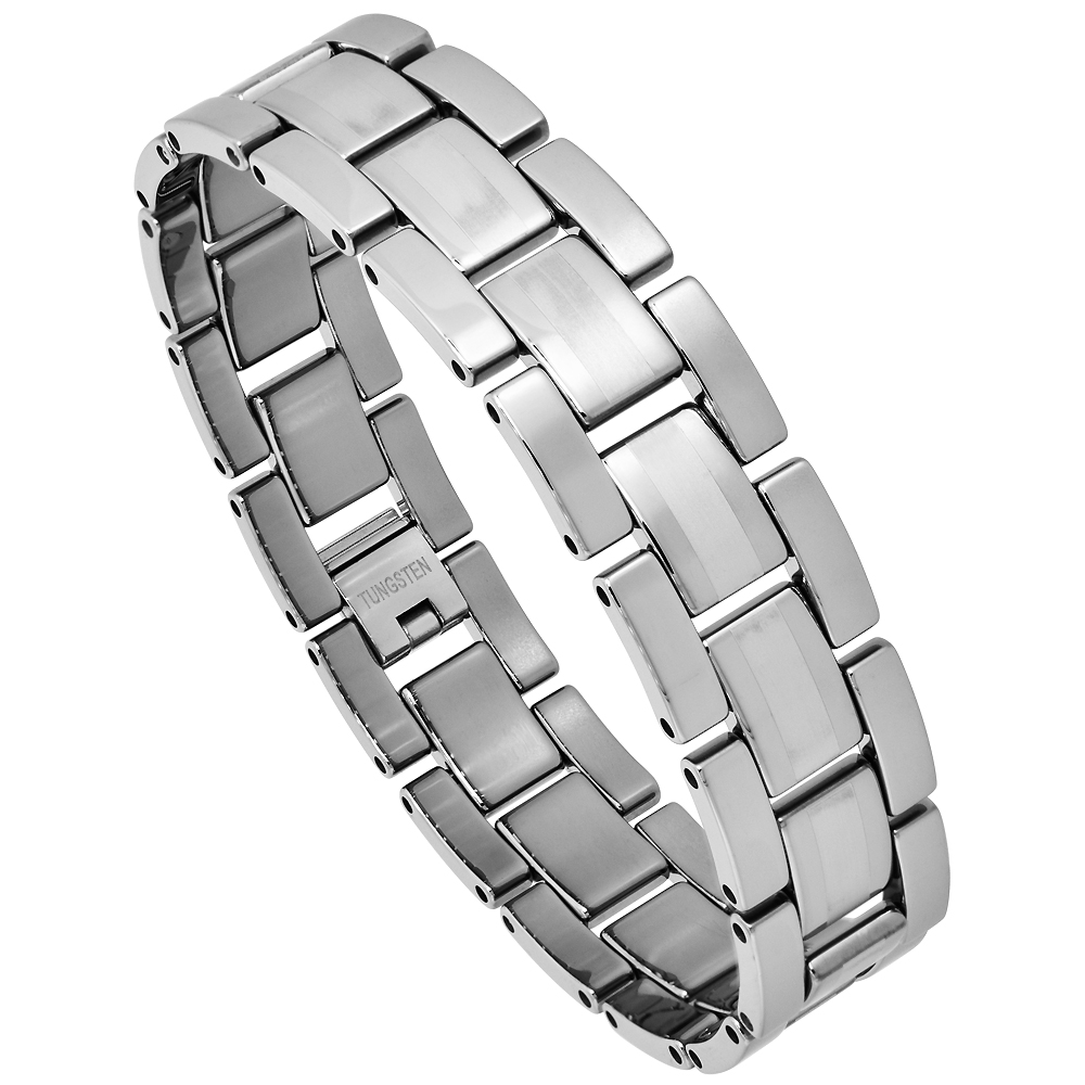 Tungsten Bracelet Magnetic Therapy Polished and Brushed-Satin Stripe Center, 5/8 inch wide