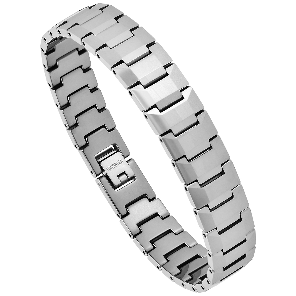 Tungsten Bracelet Magnetic Therapy Polished Faceted Links, 1/2 inch wide