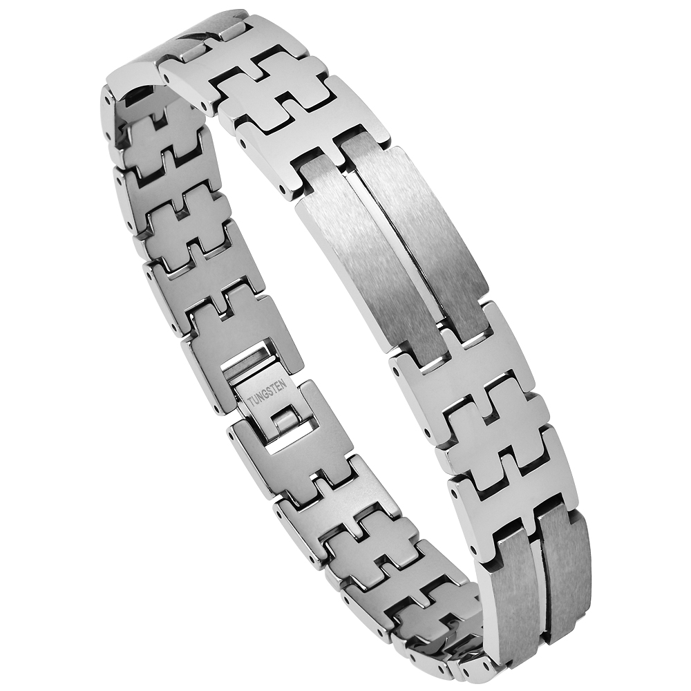 Tungsten Bracelet Magnetic Therapy Polished with Gunmetal Links, 1/2 inch wide