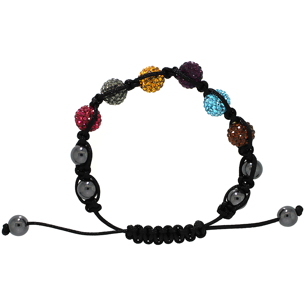 Multi Color Crystal Disco Ball Adjustable Unisex Macrame Bead Bracelet w/ Hematite Beads, 3/8 in. (10 mm) wide