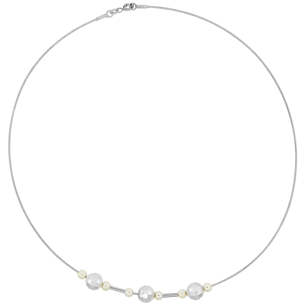 Sterling Silver Cable Wire Beaded Necklace for women Beads and Swarovski Pearls 5/16 inch wide