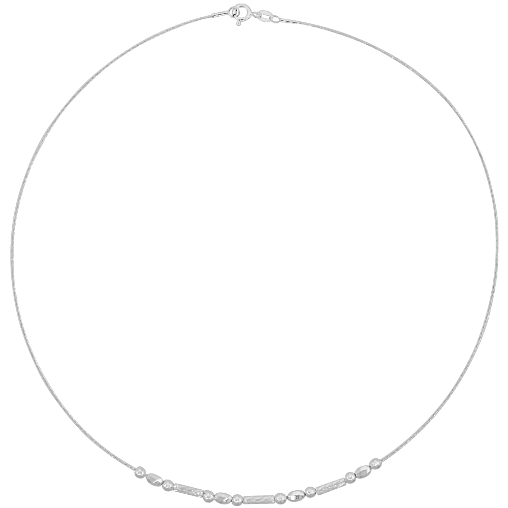 Sterling Silver Cable Wire Beaded Necklace for women Beads and Diamond cut Bars 1/8 inch wide