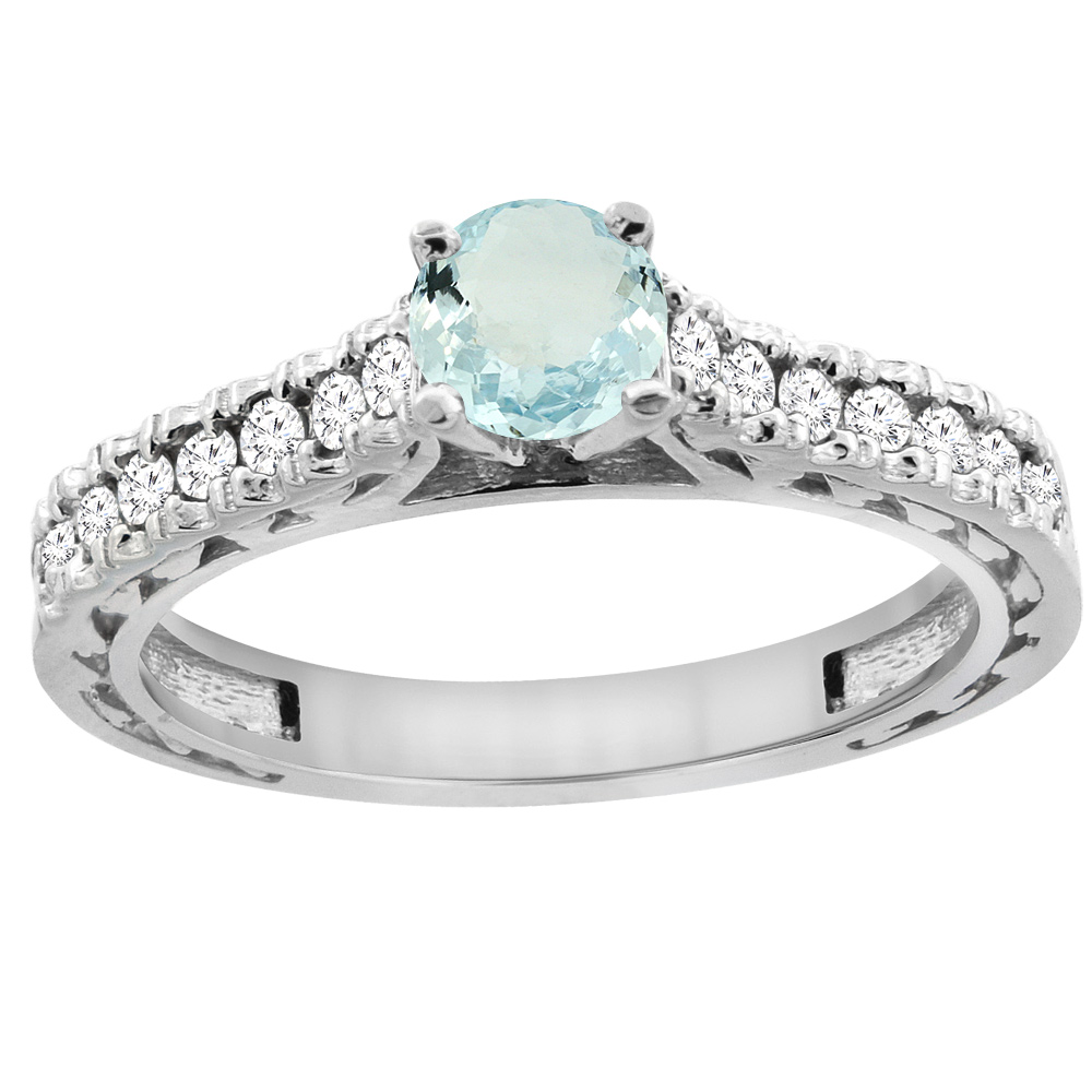 14K White Gold Natural Aquamarine Round 5mm Engraved Engagement Ring Diamond Accents, sizes 5 - 10