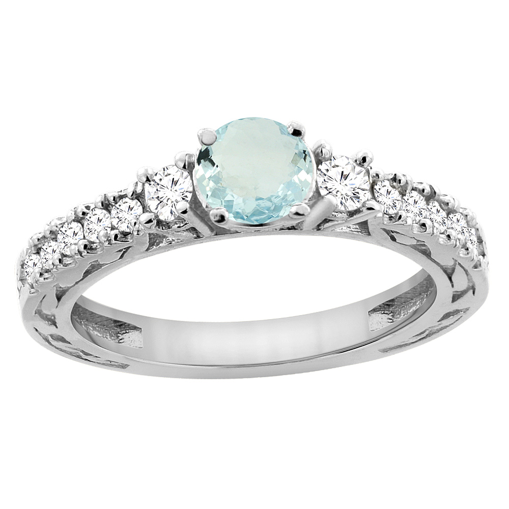 14K White Gold Natural Aquamarine Round 6mm Engraved Engagement Ring Diamond Accents, sizes 5 - 10