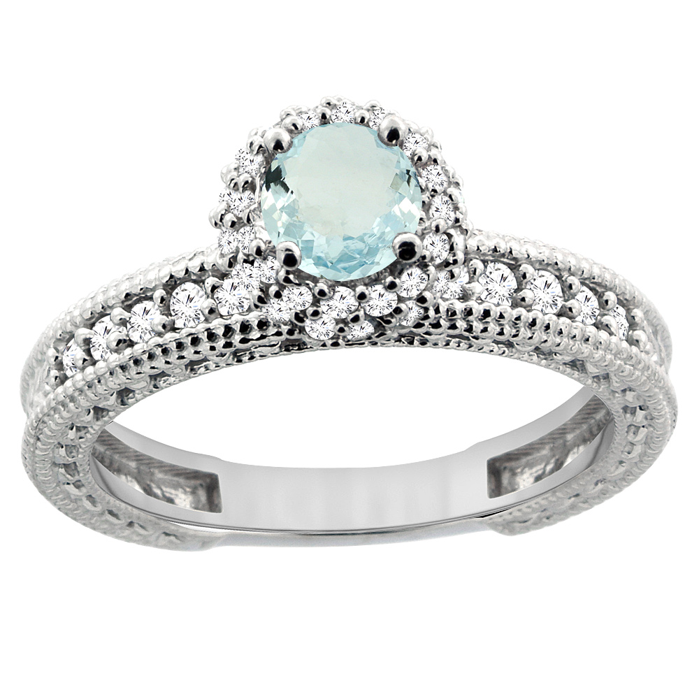 14K White Gold Natural Aquamarine Round 5mm Engagement Ring Diamond Accents, sizes 5 - 10