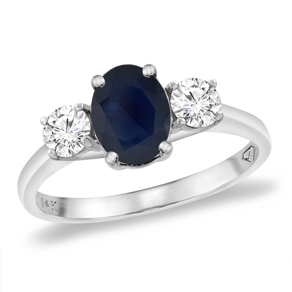 14K White Gold Natural Australian Sapphire & 2pc. Diamond Engagement Ring Oval 8x6 mm, sizes 5 -10