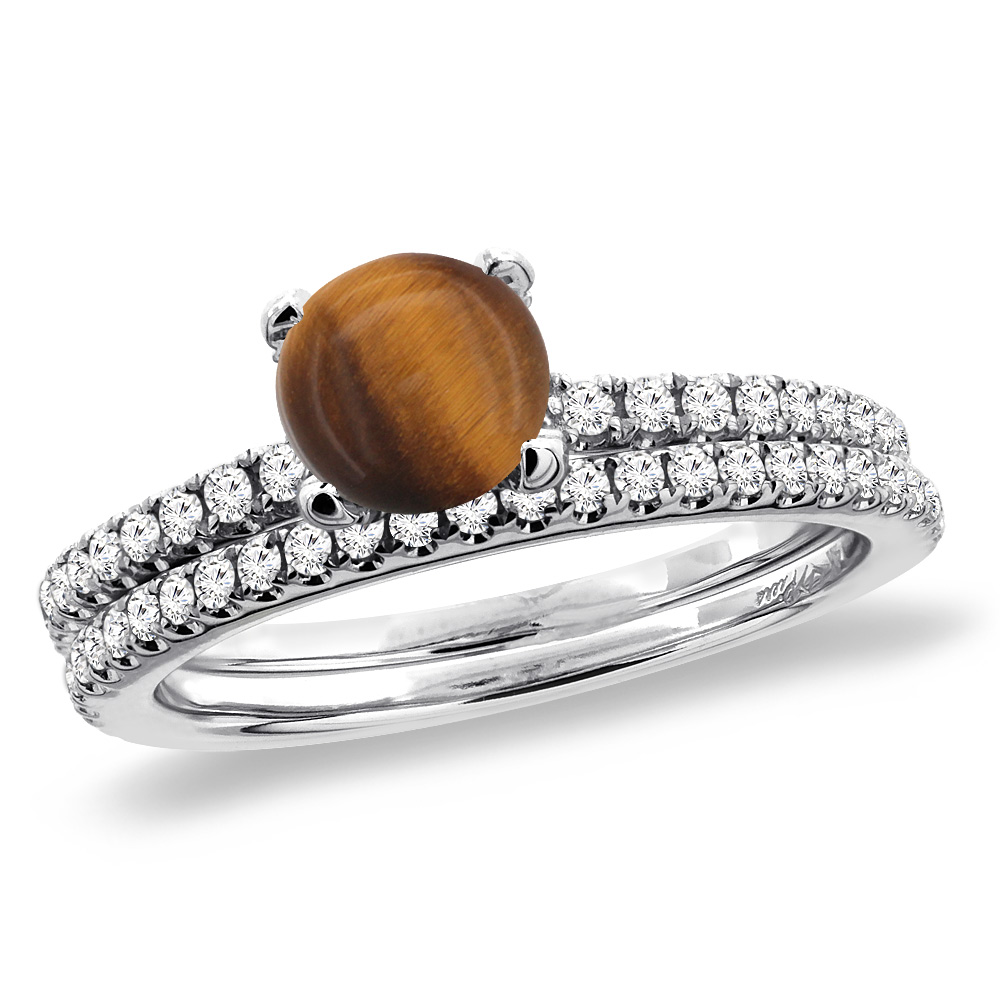 14K White Gold Diamond Natural Tiger Eye 2pc Engagement Ring Set Round 5 mm, sizes 5-10