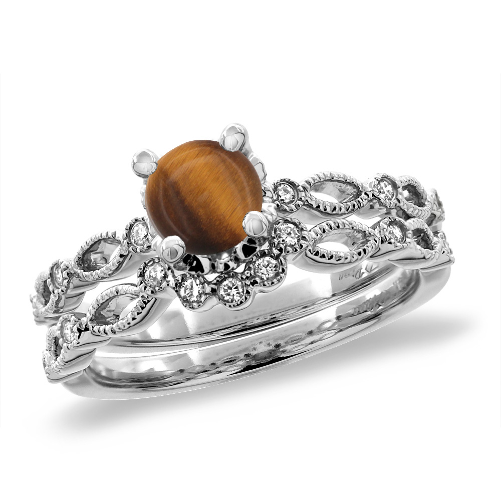 14K White Gold Diamond Natural Tiger Eye 2pc Engagement Ring Set Round 5 mm, sizes 5 - 10