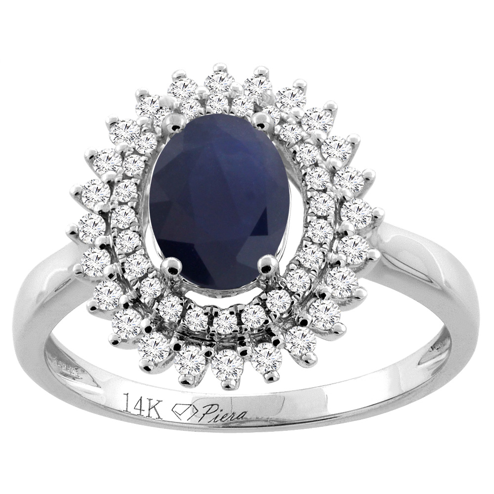 14K Gold Natural Australian Sapphire Ring Oval 8x6 mm Double Halo Diamond Accents, sizes 5 - 10