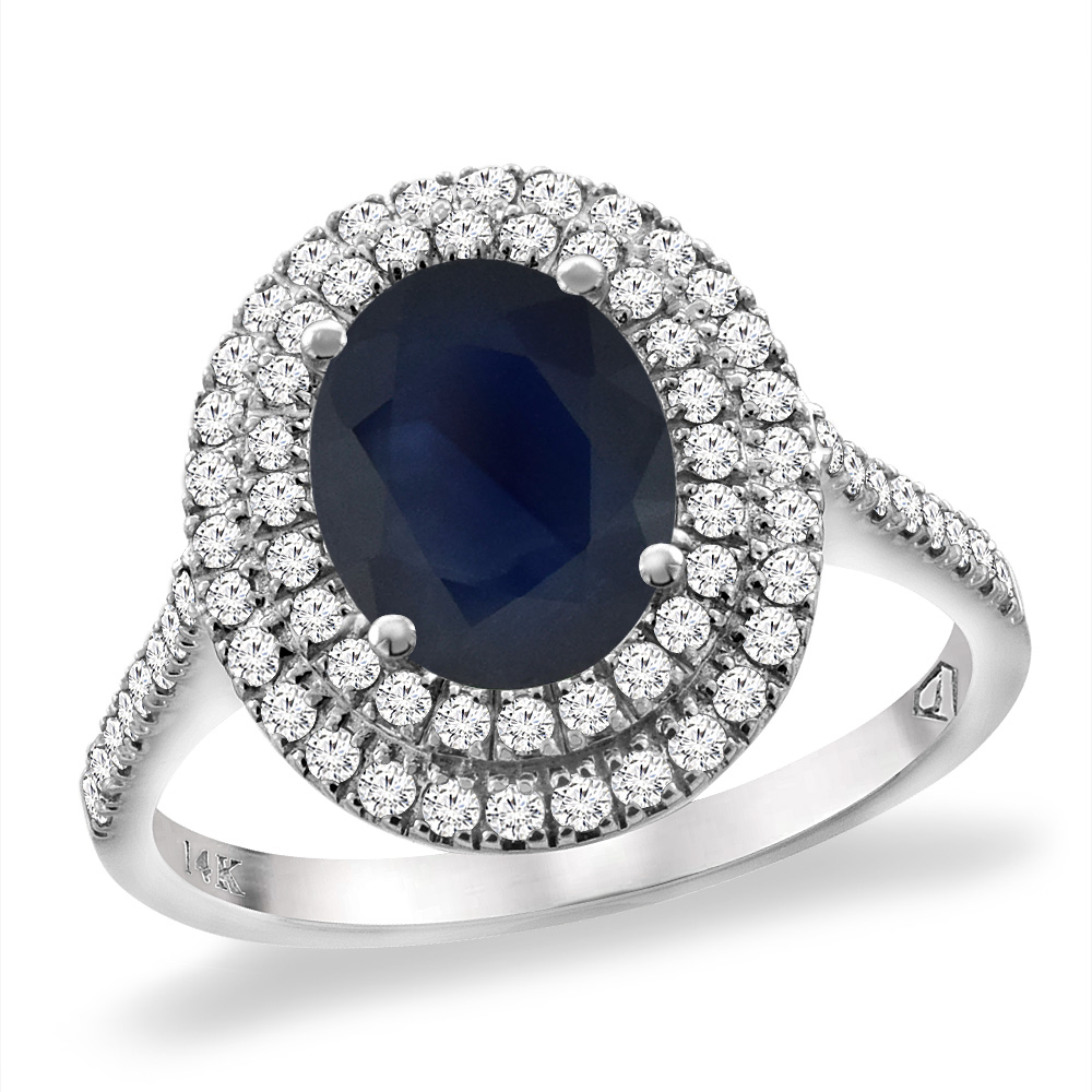 14K White Gold Natural Diffused Ceylon Sapphire Two Halo Diamond Engagement Ring 9x7mm Oval,size5-10