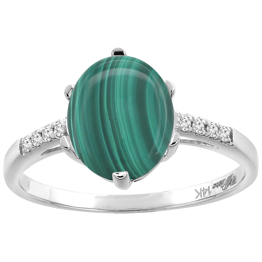 14K White Gold Natural Malachite & Diamond Ring Oval 10x8 mm, sizes 5-10