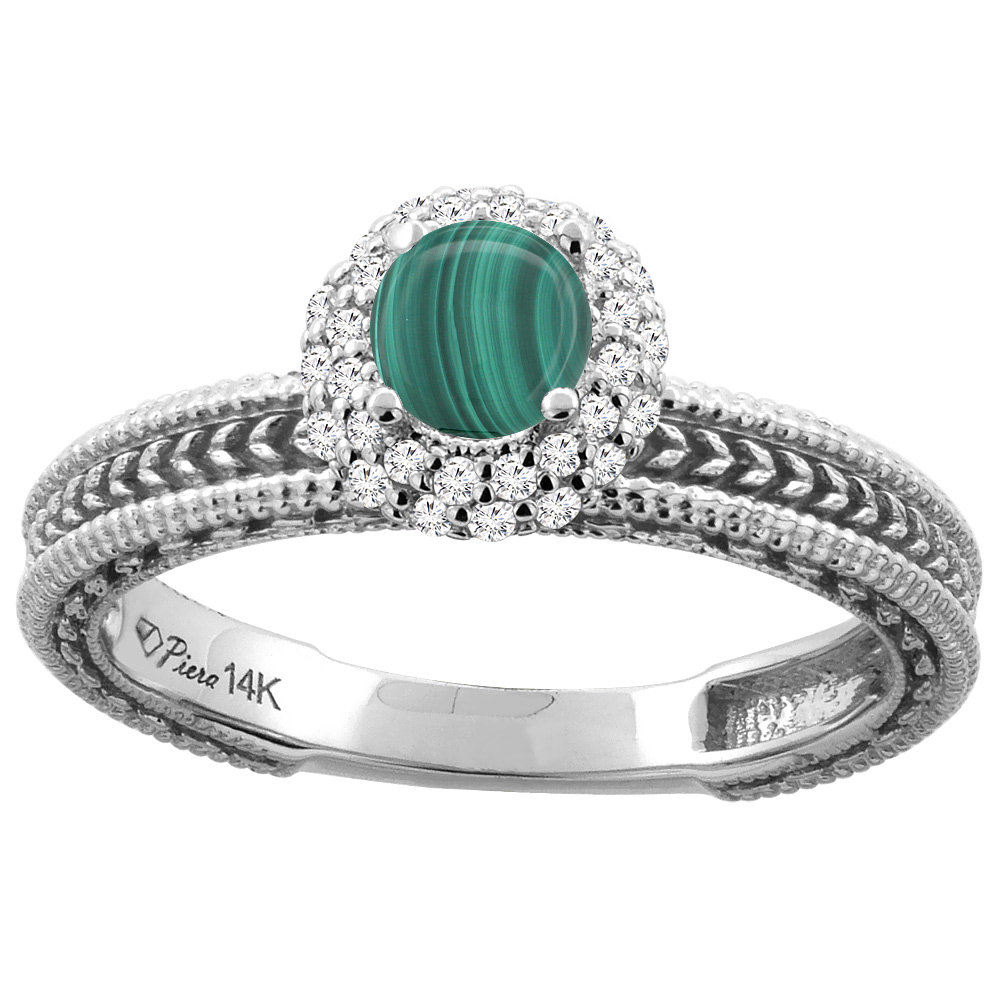 14K White Gold Natural Malachite & Diamond Engagement Ring Round 5 mm, sizes 5-10