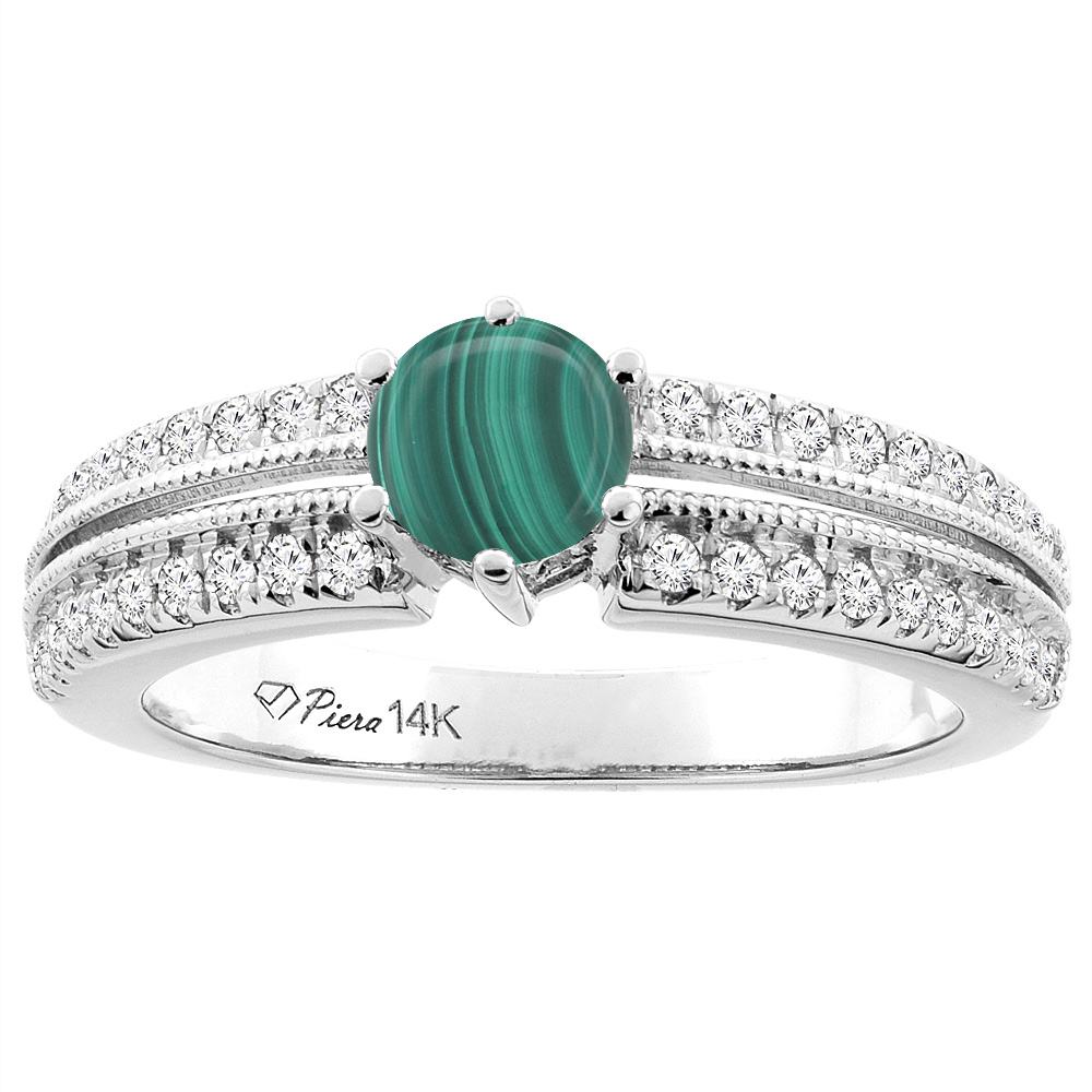 14K White Gold Natural Malachite & Diamond Ring Round 6 mm, sizes 5-10
