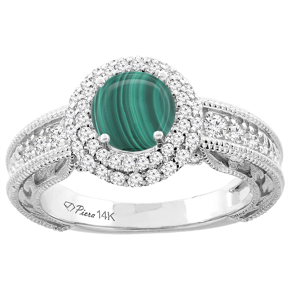 14K White Gold Natural Malachite & Diamond Halo Ring Round 6 mm, sizes 5-10