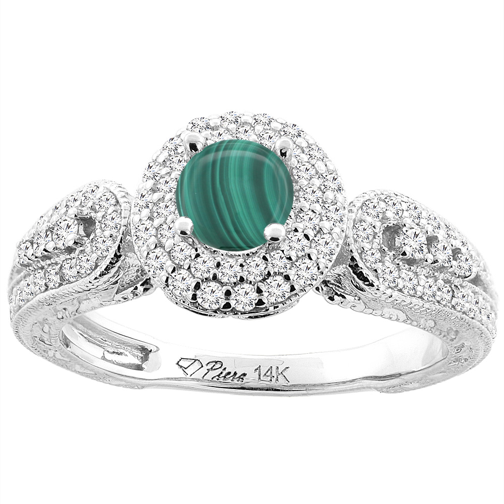 14K White Gold Natural Malachite & Diamond Halo Ring Round 5 mm, sizes 5-10