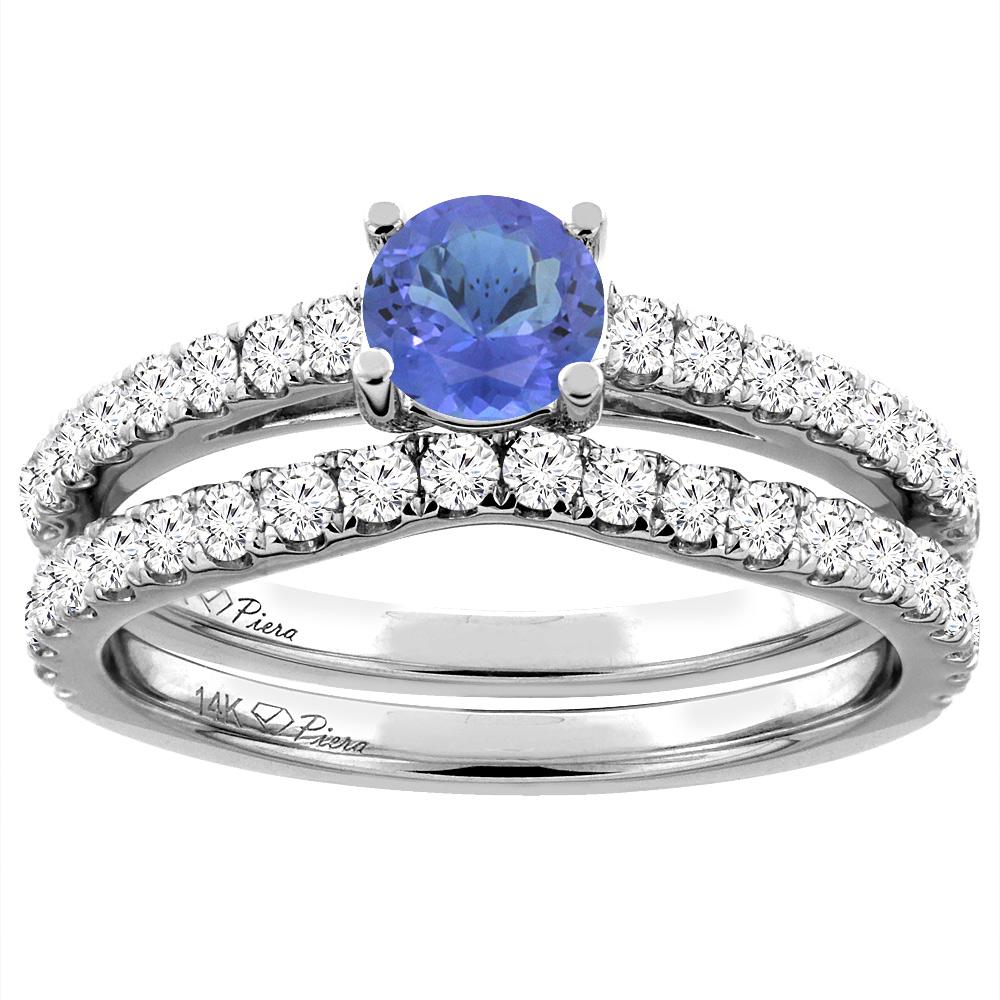 14K White Gold Diamond Natural Tanzanite Engagement Bridal Ring Set Round 6 mm, sizes 5-10