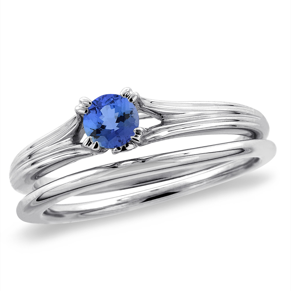14K White Gold Diamond Natural Tanzanite 2pc Solitaire Engagement Ring Set Round 6 mm, sizes 5-10