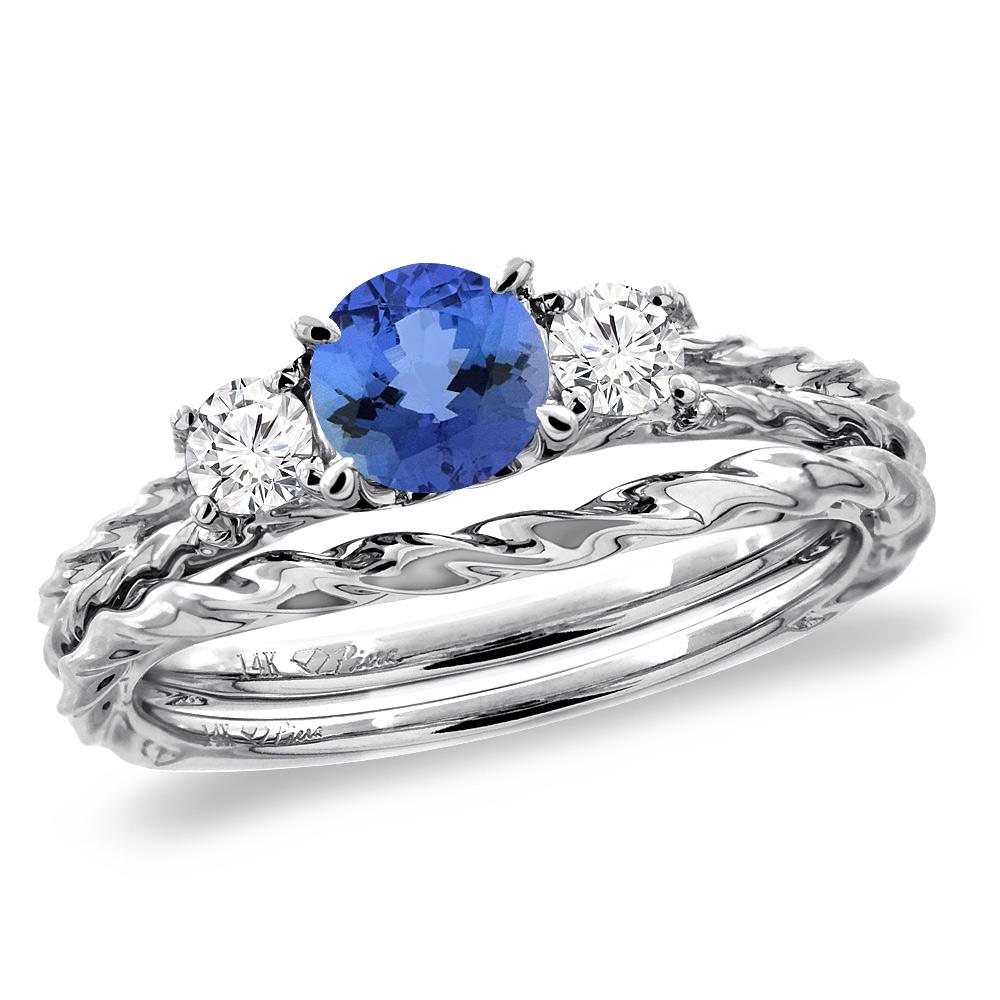 14K White Gold Diamond Natural Tanzanite 2pc Engagement Ring Set Round 6mm Twisted, sizes 5-10