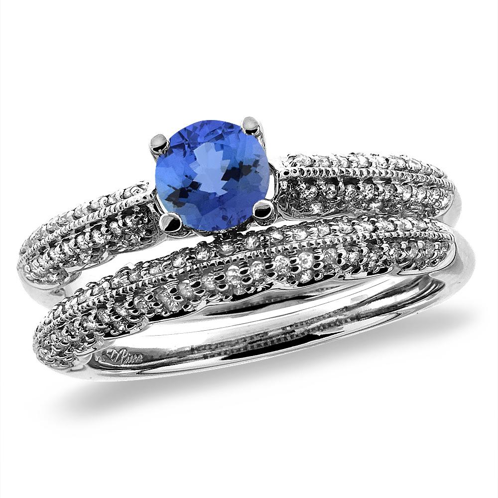 14K White/Yellow Gold Diamond Natural Tanzanite 2pc Engagement Ring Set Round 5 mm, sizes 5-10