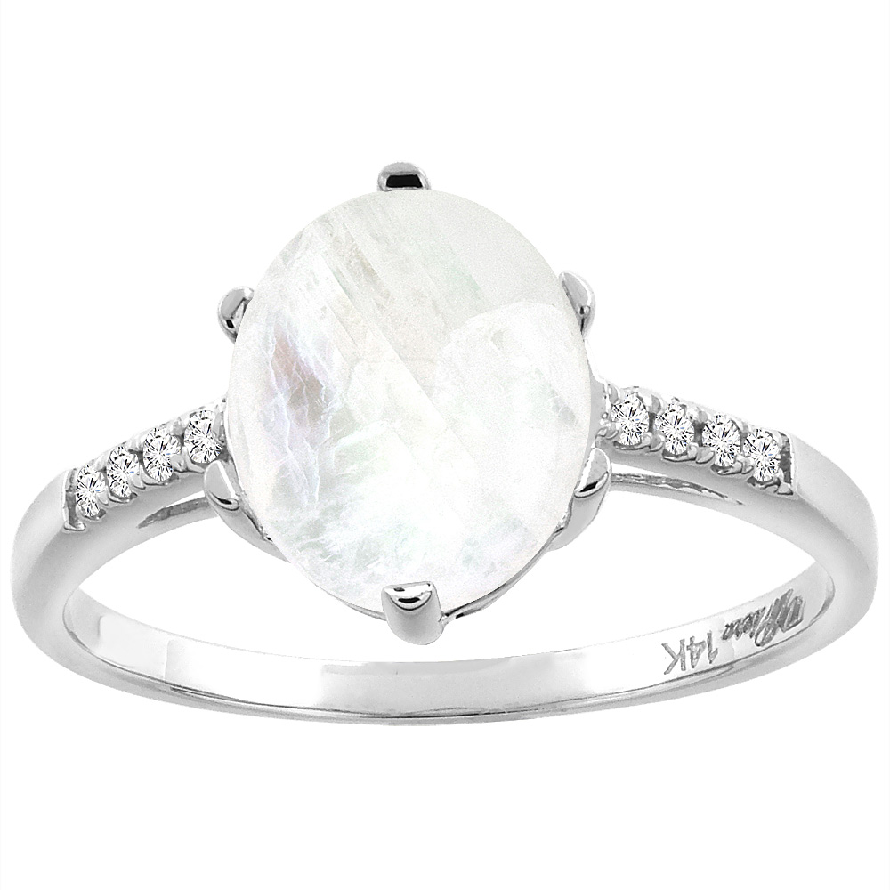 14K White Gold Natural Rainbow Moonstone & Diamond Ring Oval 10x8 mm, sizes 5-10