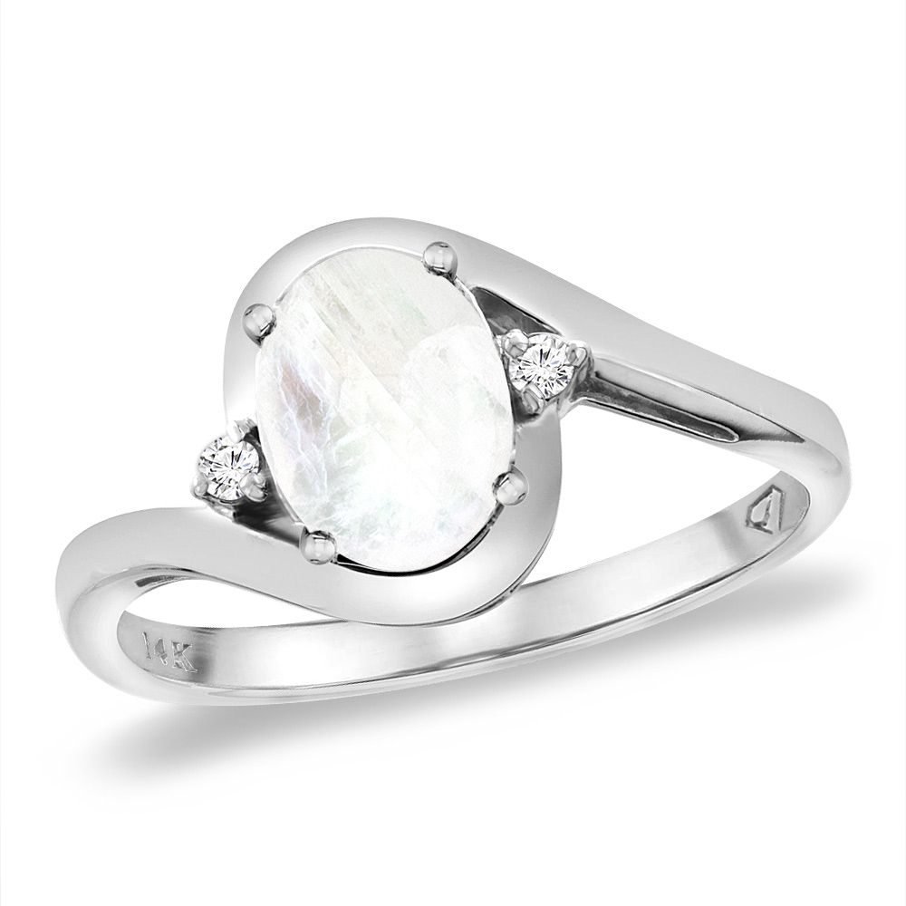 14K White Gold Diamond Natural Rainbow Moonstone Bypass Engagement Ring Oval 8x6 mm, sizes 5 -10