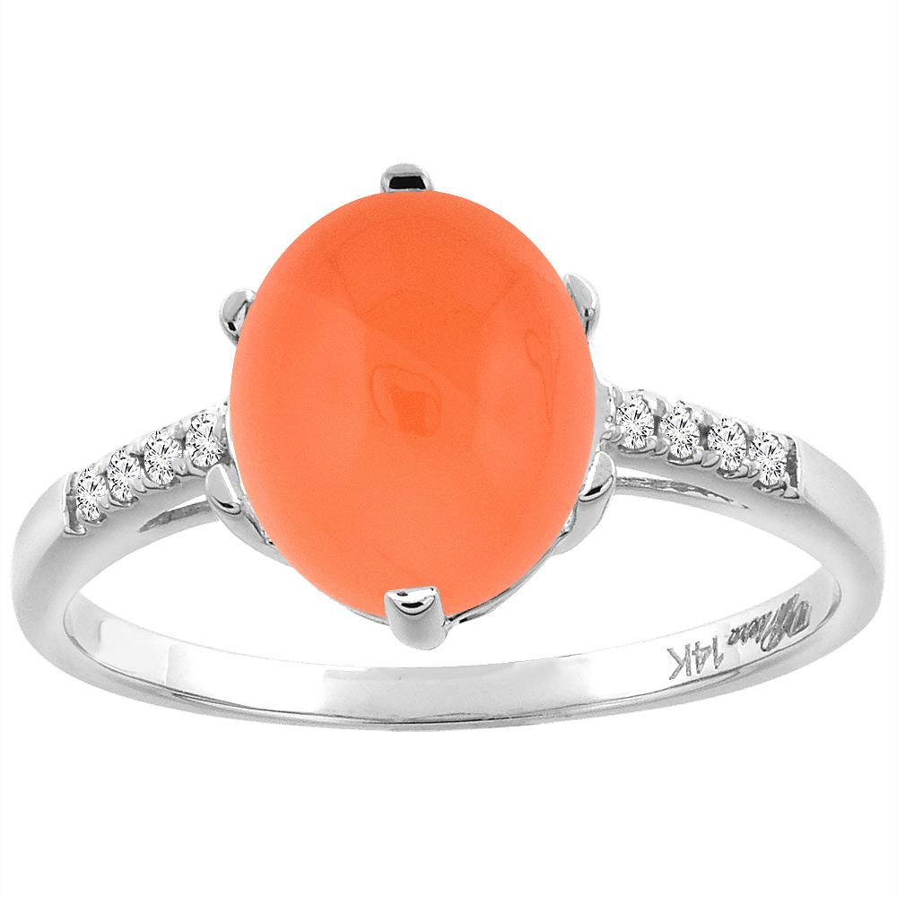 14K White Gold Natural Orange Moonstone & Diamond Ring Oval 10x8 mm, sizes 5-10