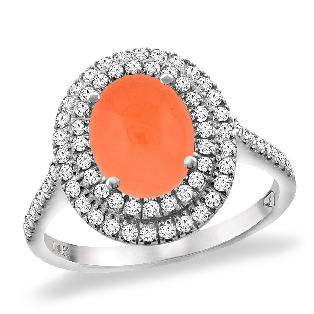 14K White Gold Natural Orange Moonstone Two Halo Diamond Engagement Ring 9x7 mm Oval, sizes 5 -10