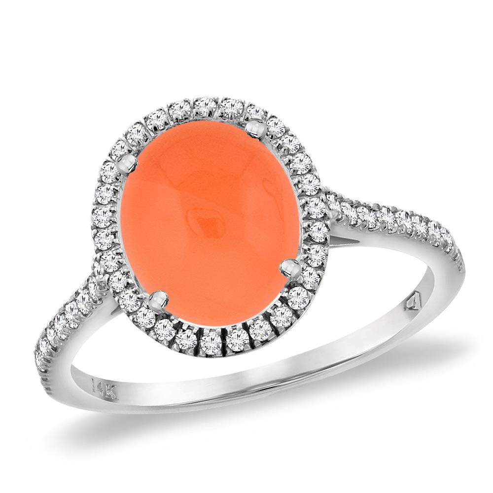 14K White Gold Natural Orange Moonstone Diamond Halo Engagement Ring 10x8 mm Oval, sizes 5 -10