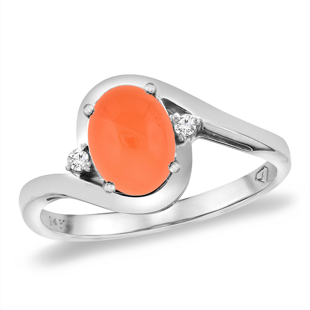 14K White Gold Diamond Natural Orange Moonstone Bypass Engagement Ring Oval 8x6 mm, sizes 5 -10