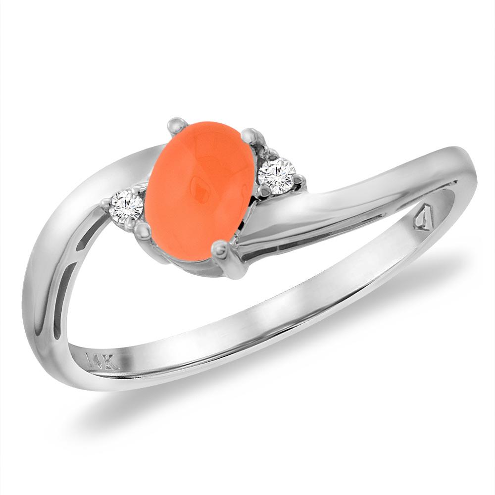 14K White Gold Diamond Natural Orange Moonstone Bypass Engagement Ring Oval 6x4 mm, sizes 5 -10