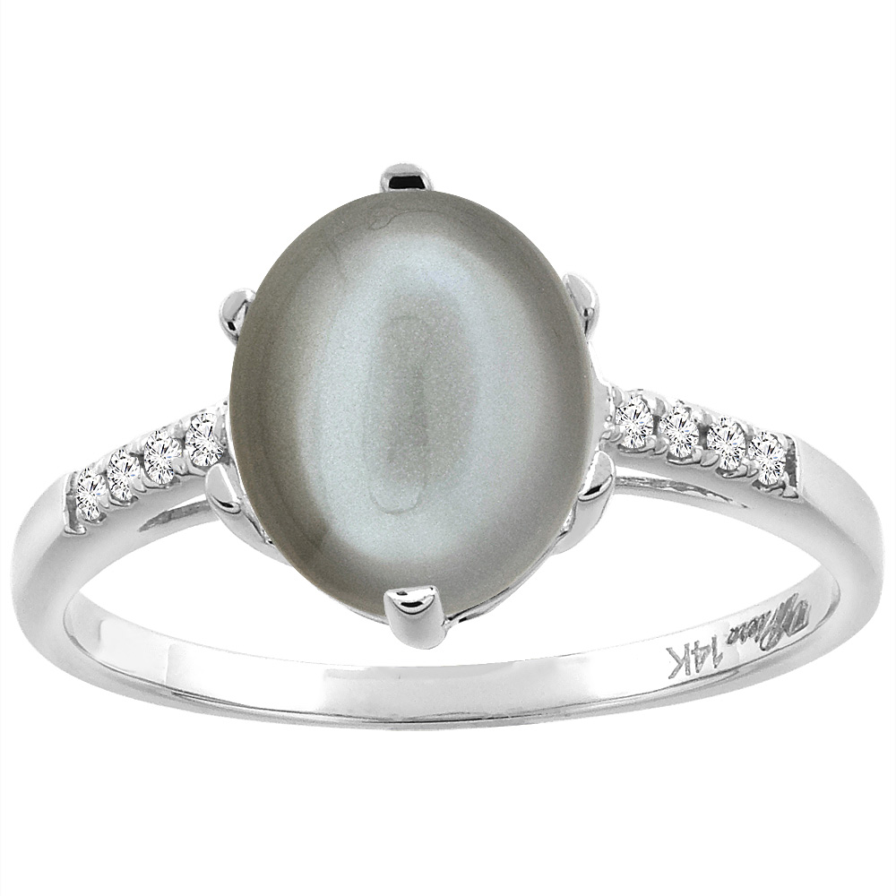 14K White Gold Natural Gray Moonstone & Diamond Ring Oval 10x8 mm, sizes 5-10