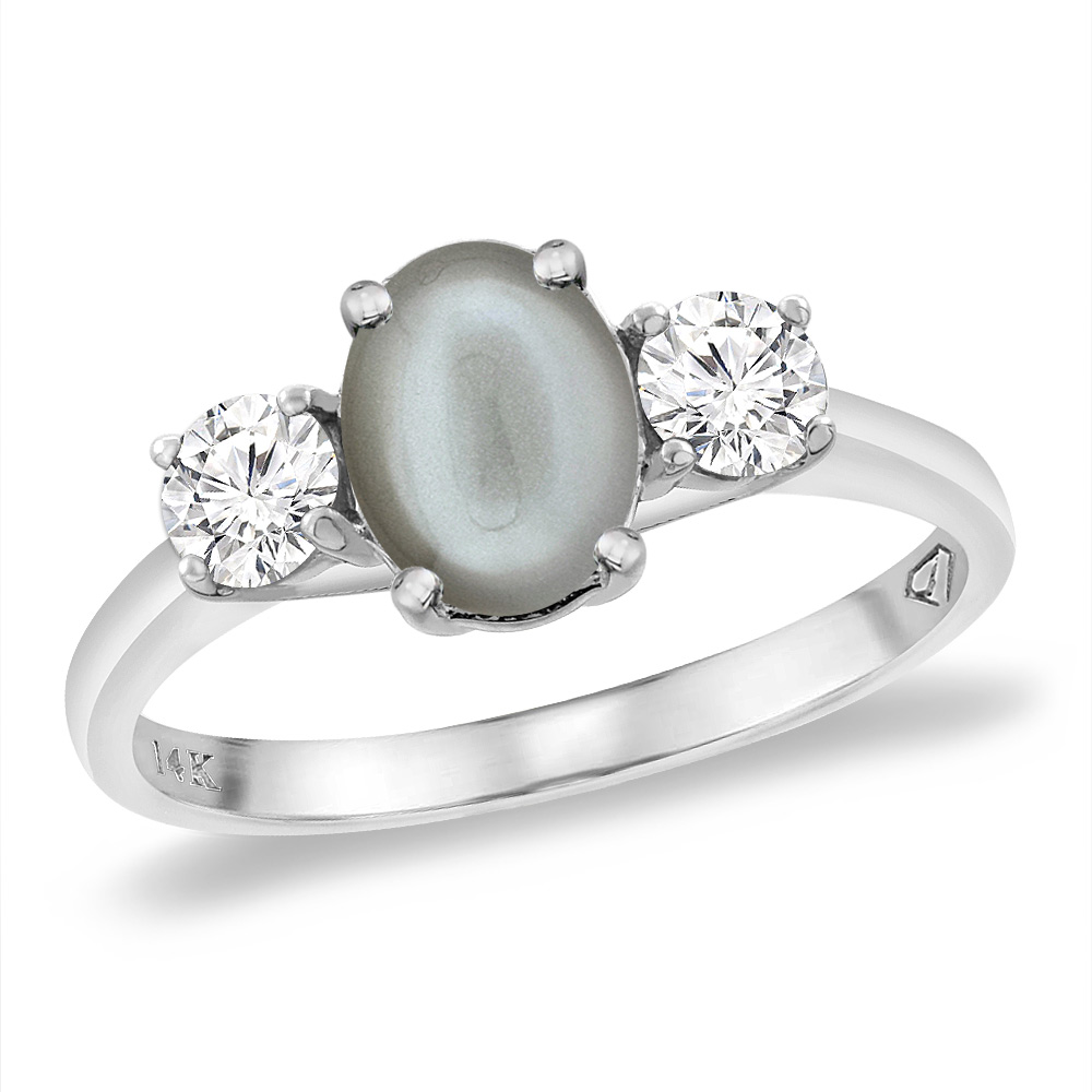 14K White Gold Natural Gray Moonstone & 2pc. Diamond Engagement Ring Oval 8x6 mm, sizes 5 -10