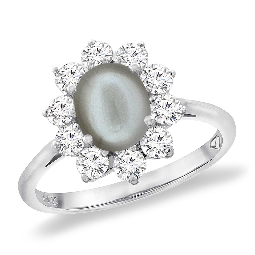 14K White Gold Diamond Natural Gray Moonstone Engagement Ring Oval 8x6 mm, sizes 5 -10