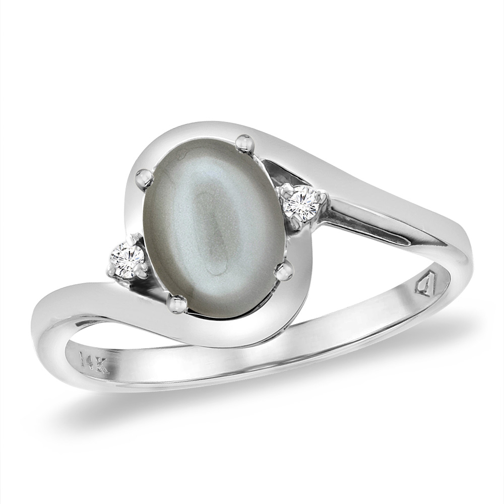14K White Gold Diamond Natural Gray Moonstone Bypass Engagement Ring Oval 8x6 mm, sizes 5 -10
