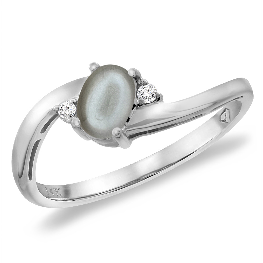 14K White Gold Diamond Natural Gray Moonstone Bypass Engagement Ring Oval 6x4 mm, sizes 5 -10