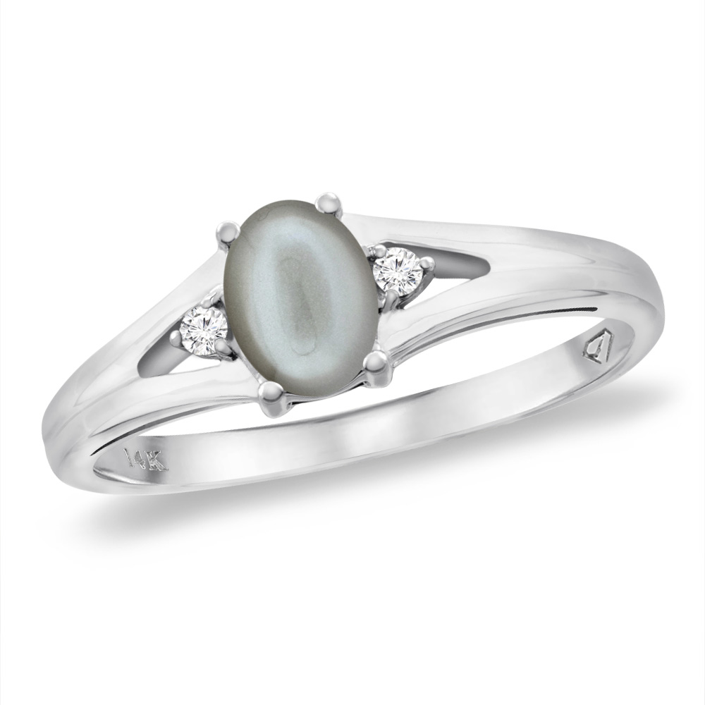 14K White Gold Diamond Natural Gray Moonstone Engagement Ring Oval 6x4 mm, sizes 5 -10