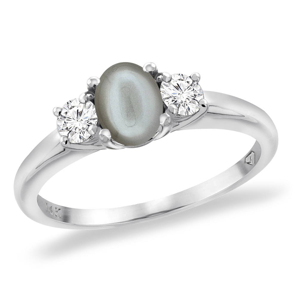 14K White Gold Natural Gray Moonstone Engagement Ring Diamond Accents Oval 7x5 mm, sizes 5 -10