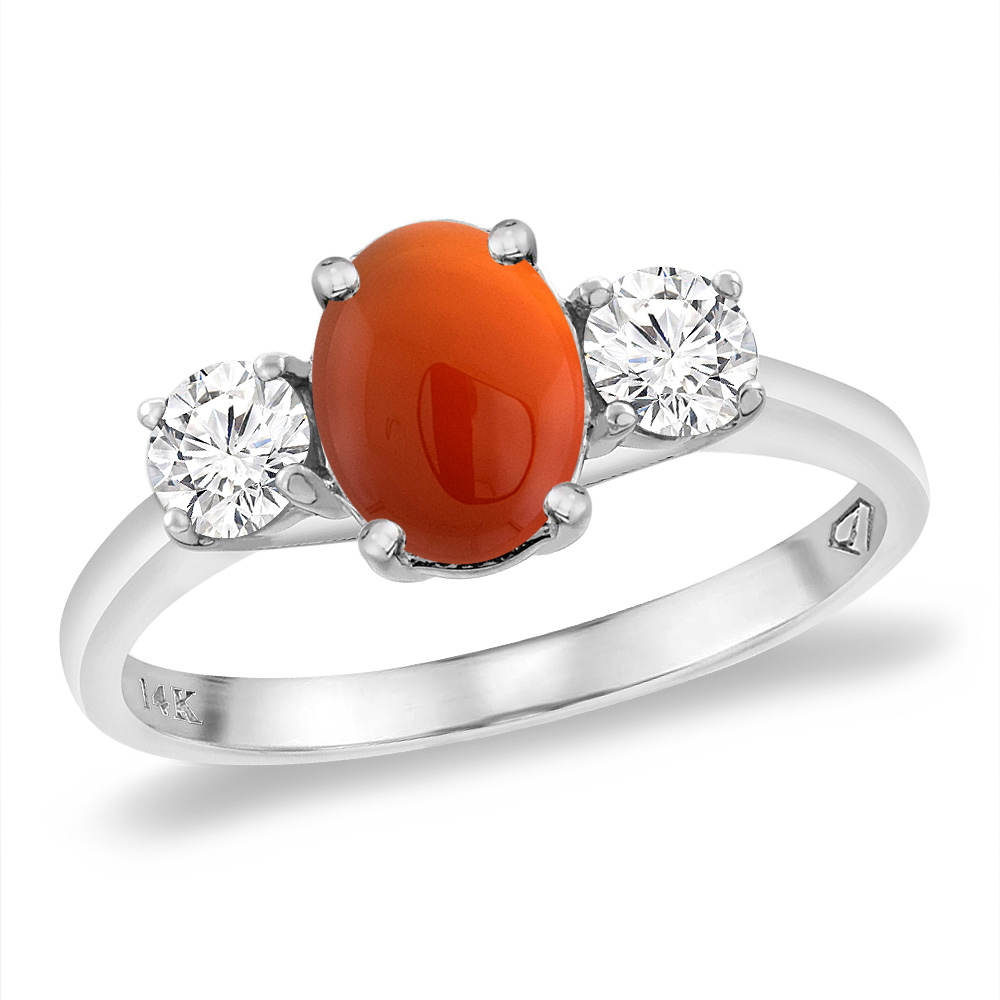 14K White Gold Natural Brown Agate & 2pc. Diamond Engagement Ring Oval 8x6 mm, sizes 5 -10