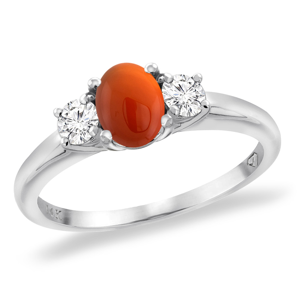 14K White Gold Natural Brown Agate Engagement Ring Diamond Accents Oval 7x5 mm, sizes 5 -10